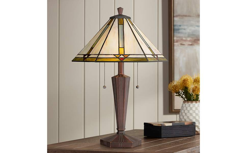Landford Traditional Mission Tiffany Style Accent Table Lamp Bronze Brown Metal Antique Glass Art Shade Decor For Living Room Bedroom House Bedside Nightstand Home Office Family Robert Louis Tiffany Amazon Com