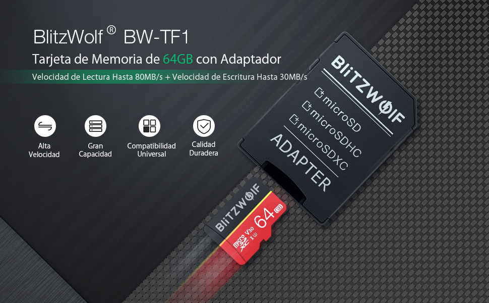 BlitzWolf Tarjeta de Memoria, 64GB Tarjeta Memoria microSDXC con Adaptador SD, Clase 10, U3(64GB)