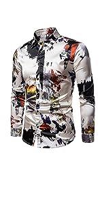 Mens Printed Shirt Long Sleeve Slim Fit Button Down Dress Shirts Casual Stylish