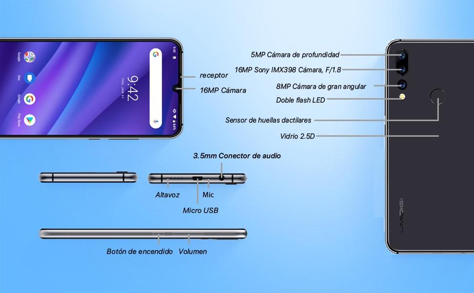 UMIDIGI A5 Pro Smartphone Libres Teléfono Inteligente Dual SIM 2 + 1 Ranuras para Tarjetas 6.3