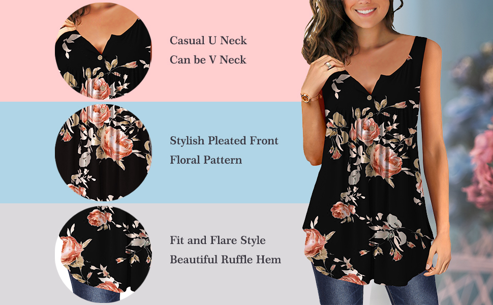 Sleeveless Tank Top for Women Casual Loose Fitting Shirts V Neck & U Neck Tunics Floral Printed