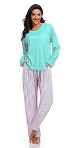 SHEKINI Pijama Mujer Invierno Dos Piezas, Manga Larga Camiseta y Pantalones Largos con Rayas Arcoiris Suave y Comodo: Amazon.es: Ropa y accesorios