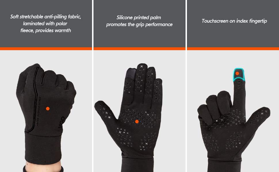 Vgo.. Jogging Hiking /& Light-Duty Works FL3108 Mens Multi-Purpose Four Seasonss Gloves for Cycling Touchscreen Compatible