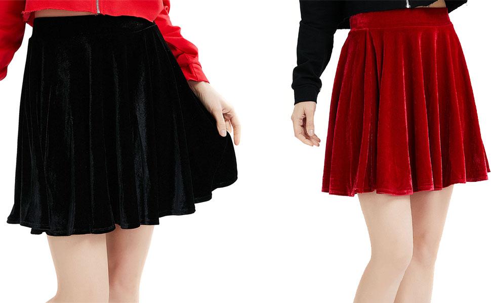 Women/'s Vintage Velvet Stretchy Flared Pleated A-Line Circle Mini Skater Skirt