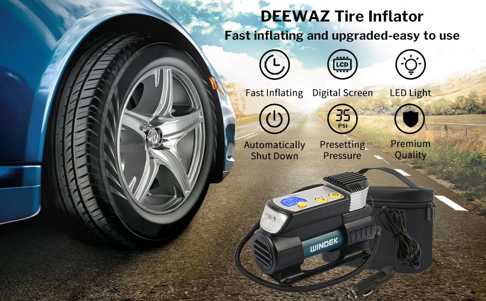 Deewaz Heavy Duty Direct Drive Metal Pump Digital Display Car Air Compressor Tire Inflator Pump Electric Portable 12V Tires/ Inflator with Preset Tyre Pressure and Inflate Auto Stop Function