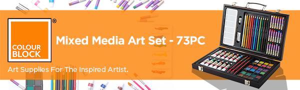 mixed media set all media set mixed media kit watercolor cake oil pastels acrylic paint brushes