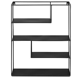 2er Pack Vintage Metallregal im Industrial Design mit 4 Etagen Wanddeko K/üchenregal Gew/ürzregal LIFA LIVING 2X Eckiges Wandregal aus schwarzem Metall mit 4 B/öden 55 x 45 x 11 cm