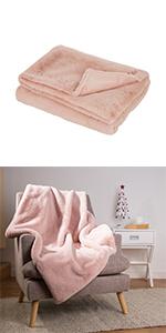 "50""*60"" Faux Fur Throw/Blanket, Ash Rose (Face Fabric  800gsm; Back 180gsm)"