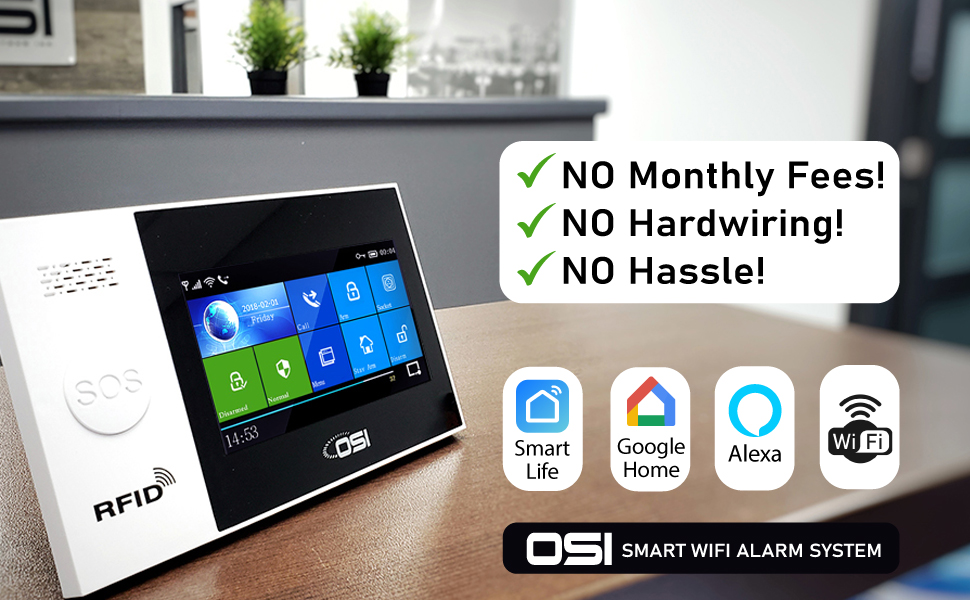 OSI Smart Wireless Alarm System - No Monthly Fees!