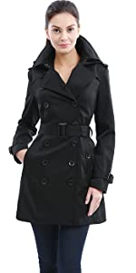 BGSD Women's Madison Waterproof Hooded Mid Length Trench Coat