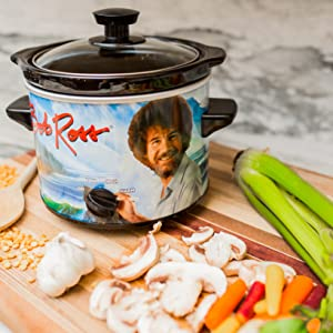 Uncanny Brands Bob Ross 2 Quart Slow Cooker- Happy Little Tree Appliance