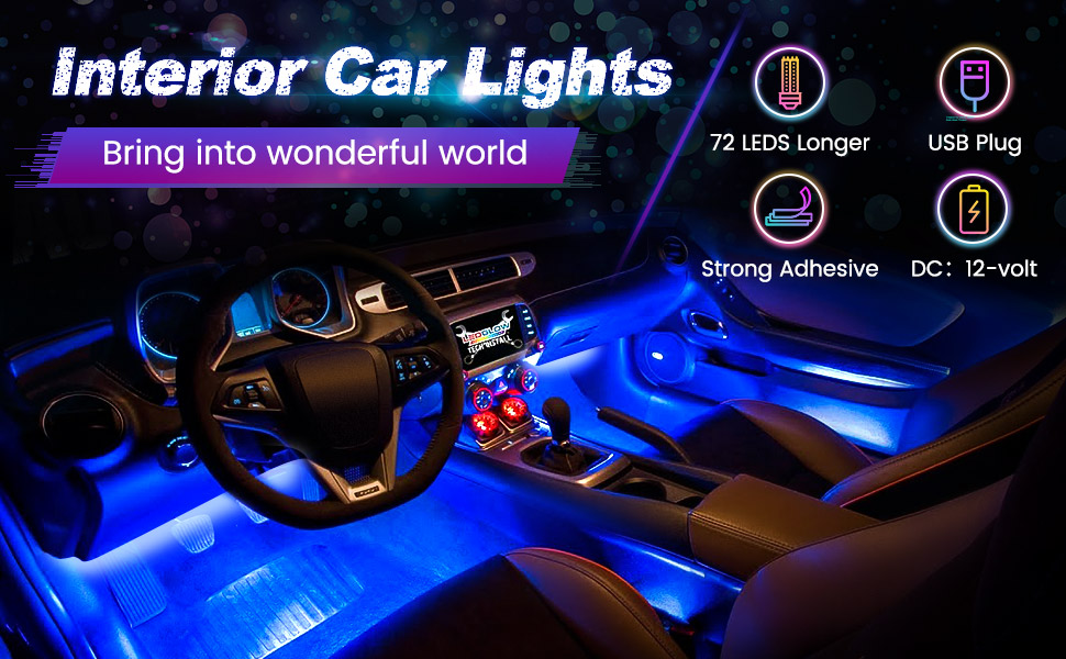 interior car lights bring into wonderful world 72leds longer, usb charging, strong adhesive