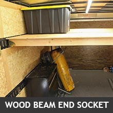 shelf attached to E-Track with wood beam socket