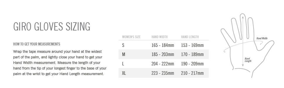 women gloves size chart
