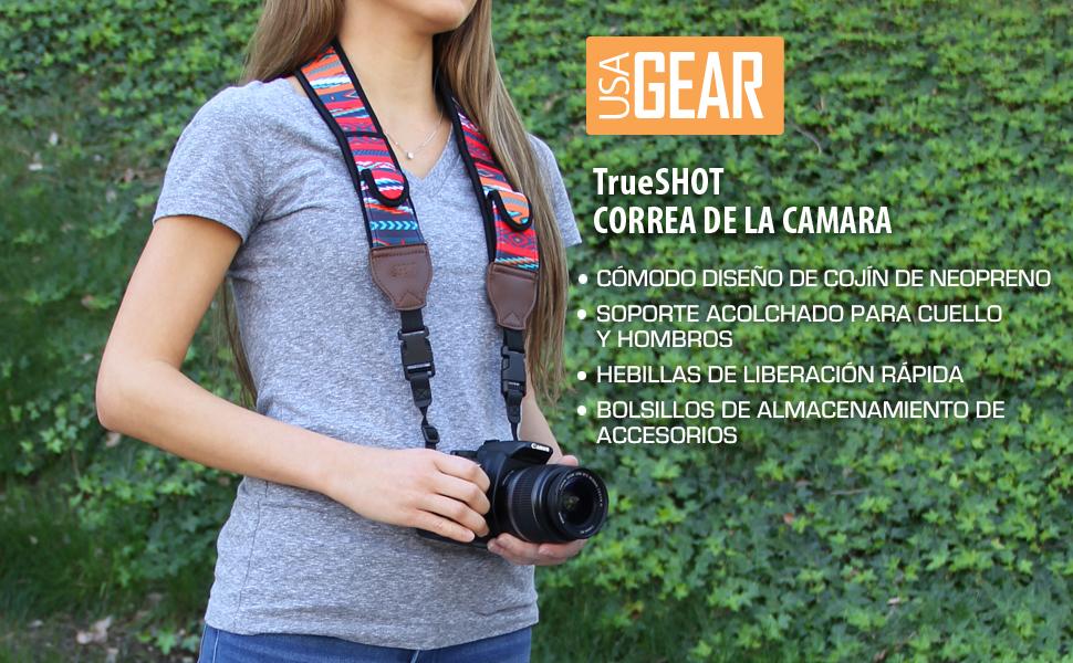 USA Gear TrueSHOT Correa Camara Reflex, Bolsillos para Accesorios ...