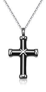 Black Cross Urn Necklace