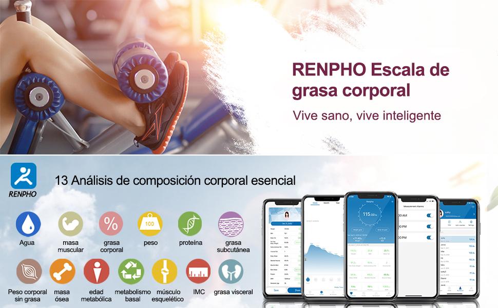 renpho Básculas digitales Monitores de composición corporal