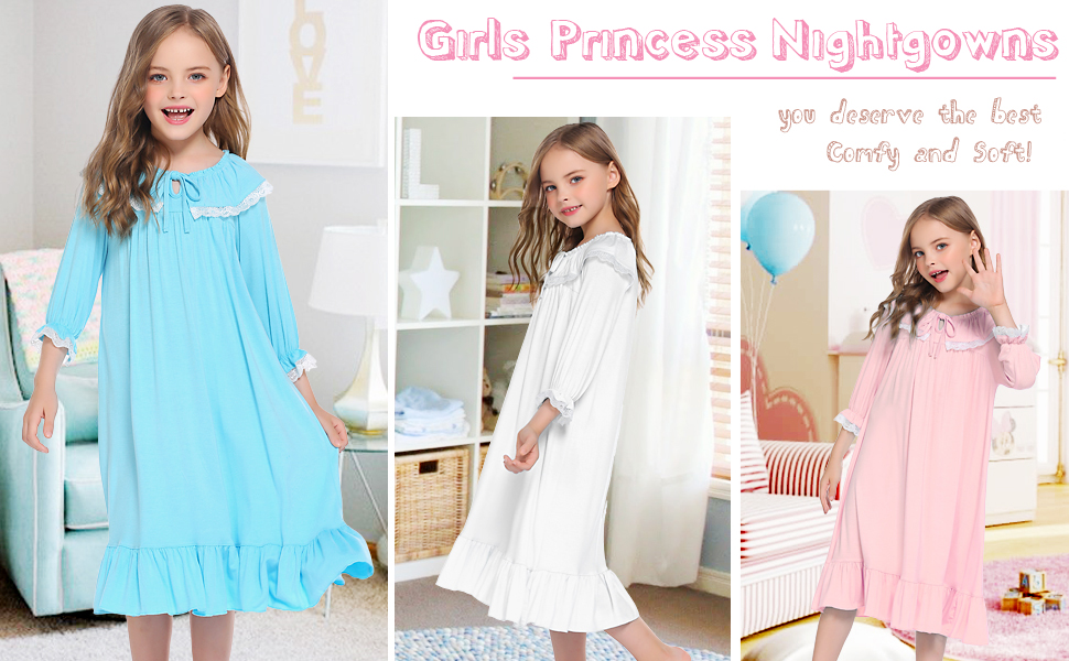 New Kids Girl's O Neck Ruffles Princess Nightgowns Nightdress
