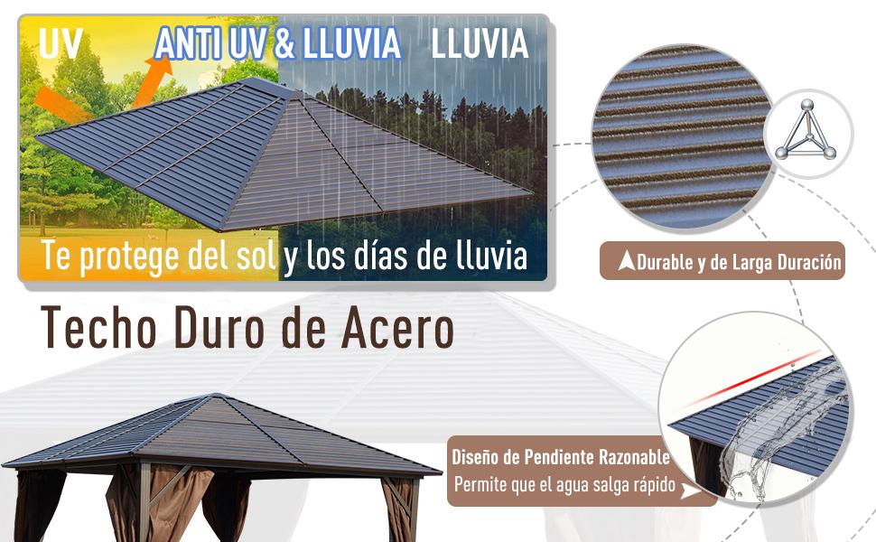 Outsunny Cenador con Techo Exterior Gazebo Pabellón al Aire Libre Carpa de Jardín con Pared Lateral y Mosquitero Marco de Hierro Color Marrón: Amazon.es: Jardín