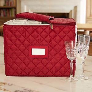 Red stemware and wine glass storage