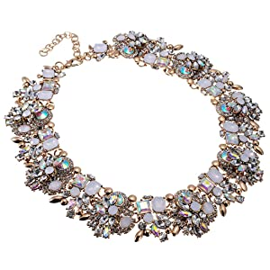 for any occasion Beautiful handmade bib statement necklace with pink acrylic gemstones and rainbow details floral necklace gift for her