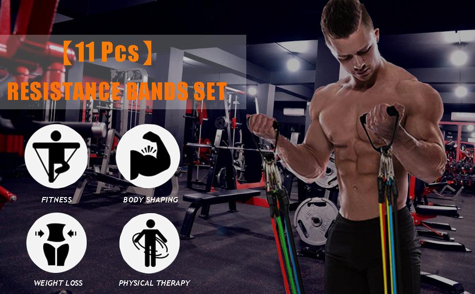 Juego de 11 Bandas de Resistencia para Entrenamiento,Kit de Gym para Ejercicio Físico,Yoga,Pilates Abdominales,Fitness,Gimnasio en casa para Hombres y ...