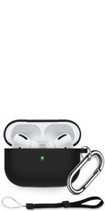 AirPods Pro 充電ケースカバー シリコン 3 in 1 前のLEDライトが見える 新年プレゼント カラビナ ストラップ付 AirPods Pro ケース 保護ケース イヤホン 収納ケース