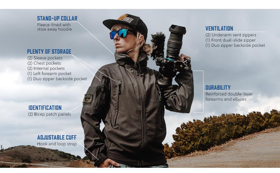condor, outdoor, storage, tactical jacket, weather, patch panel, durable, ventilation, zippers, hood