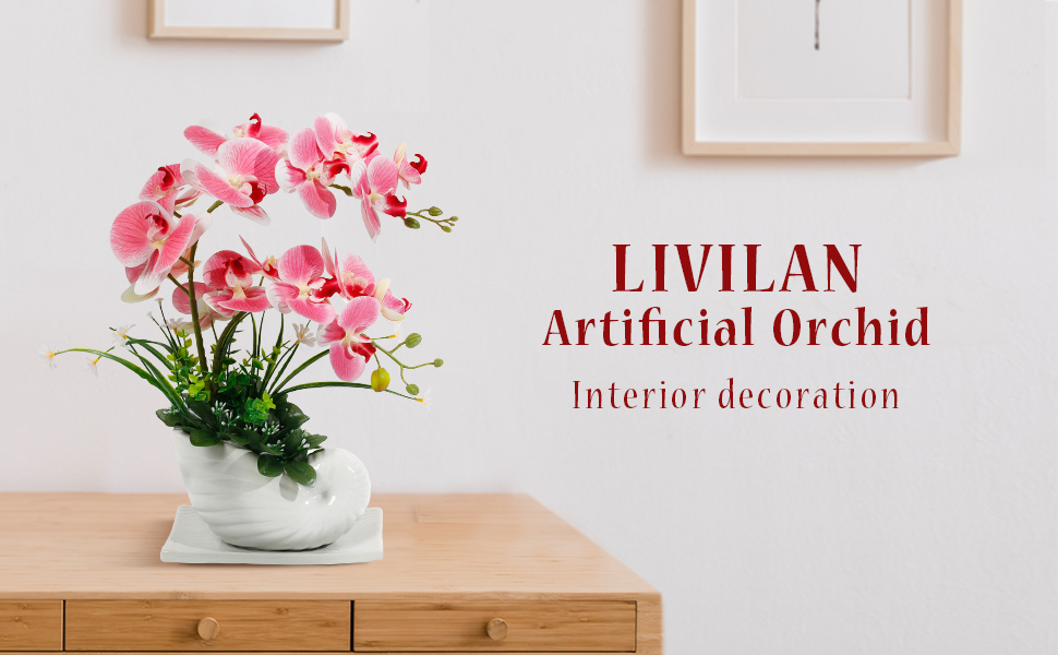 PINK ORCHID WITH WHITE CERAMIC POT SILK ORCHID WITH POT