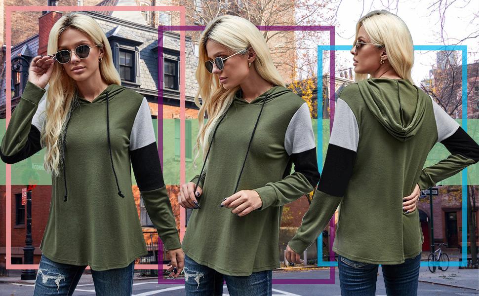 Womens Color Block Hoodie Sweatshirts