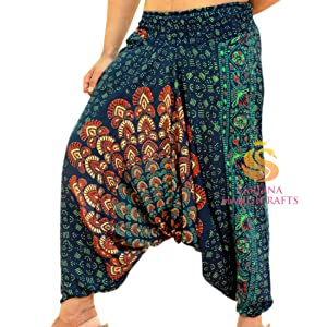 Unisex Drop Crotch Harem Pants with Pockets in Gold on Gold Shattered Glass Holographic Festival Rave Roomy Lounge Pants 155551