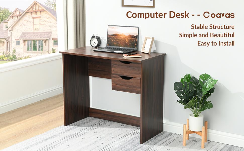 Desk with drawer Computer-desk Home-desk Kids-desk Study-desk Wood-desk Small-desk Browndesk Bedroom