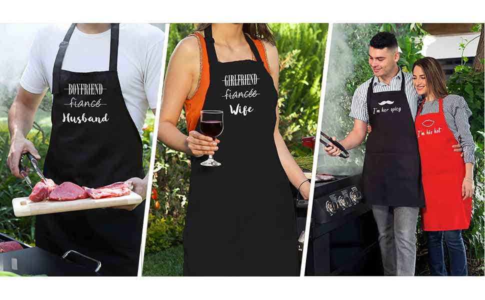 matching aprons choice any couples newly-wed bridal shower wedding anniversary housewarming gift.