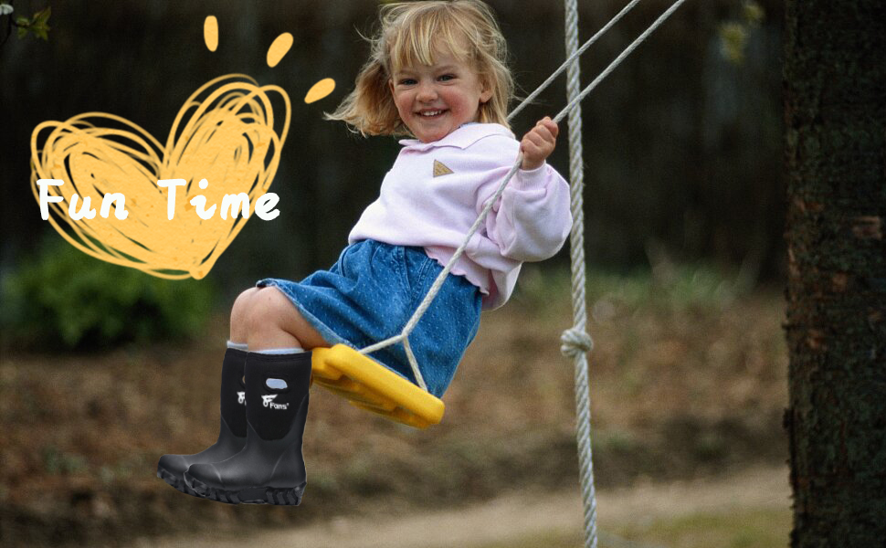 8 Fans Kids Rubber Wellies 100/% Waterproof Fishing Walking Neoprene Boots with Warm Liners for Boys and Girls