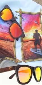 Pelican Sunwear wooden sunglasses red polarized du dumu wood men women