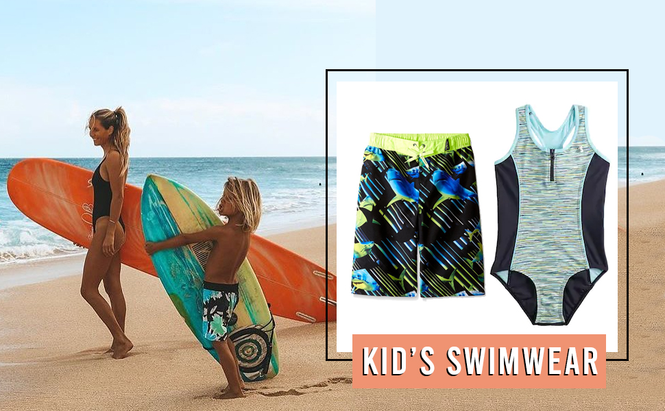 zeroxposur kids boy girl summer vacation playa short bodysuit fun graphic printed clothes set