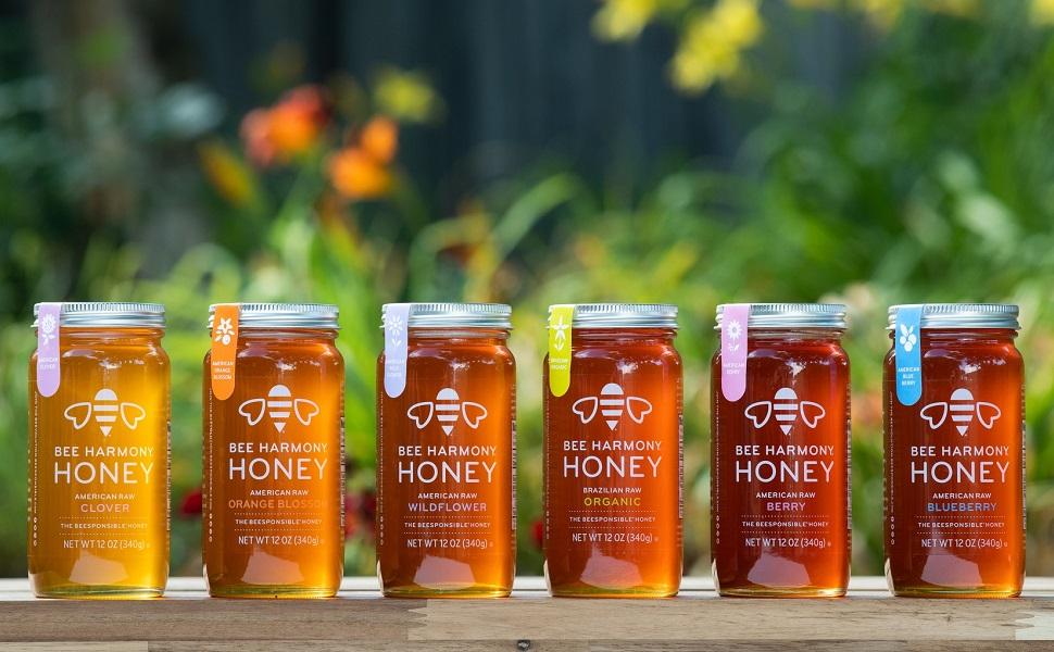 Bee Harmony Honey jar lineup
