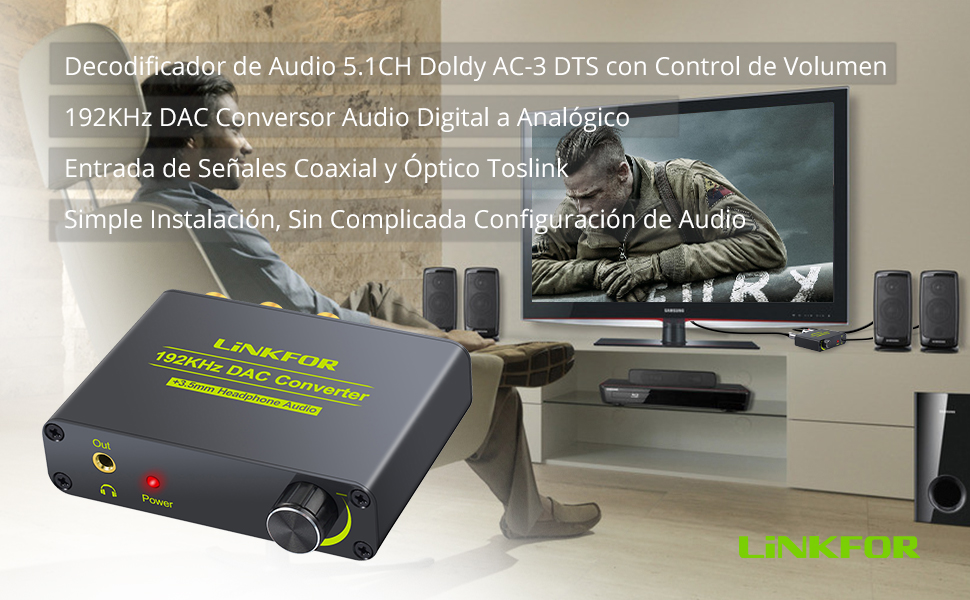 192kHz DAC Convertidor Decodificador de Audio con Control de Volumen Soporte Dolby AC-3 DTS 5.1 CH Digital Coaxial Optico SPDIF Toslink a Analógico L / R RCA 3.5 mm Jack para HDTV