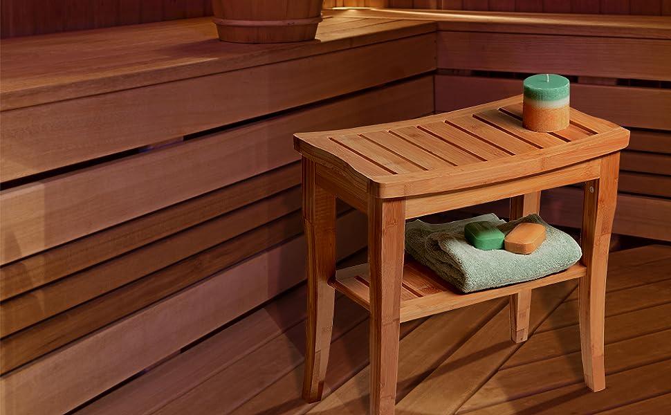 Shower Bench Seat Spa Wood Bamboo Steam Sauna Bathroom Chair Gym Stool Tub Small