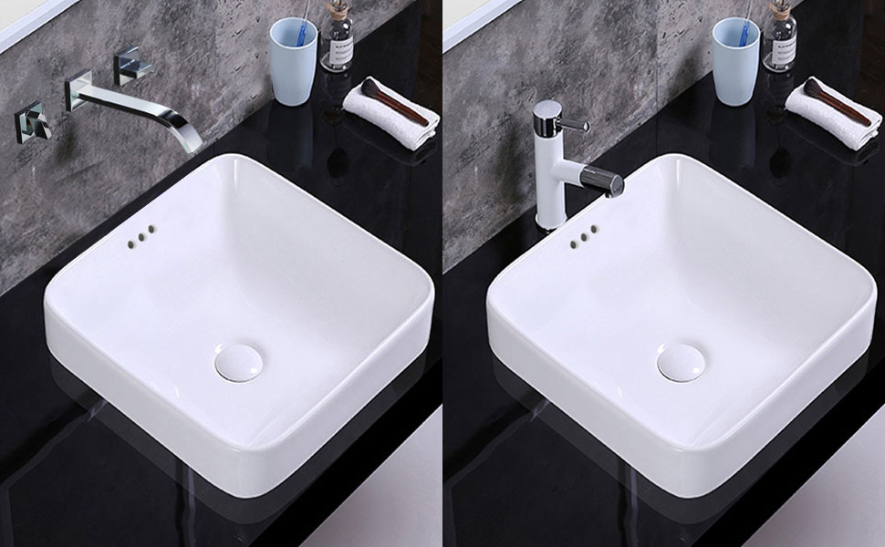 optional wall faced faucet or countertop faucet for this sink