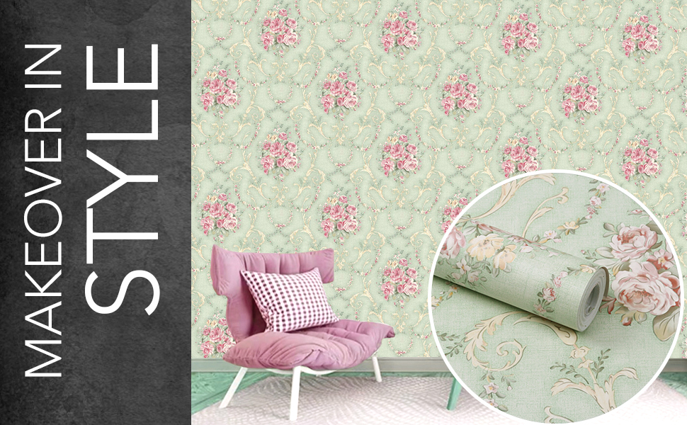floral damask roses flowers wall stickers wallpapers for hall living room, DIY self-adhesive, decals