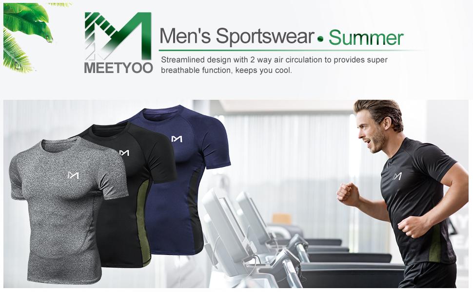 MEETYOO Camiseta Compresion Hombre Azul + Negro + Gris, M Manga Corta Camisetas Ropa Deportiva para Running Gym Ciclismo