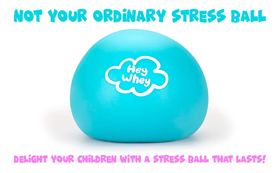 says not your ordinary stress ball, shows stress ball, and says delight your children