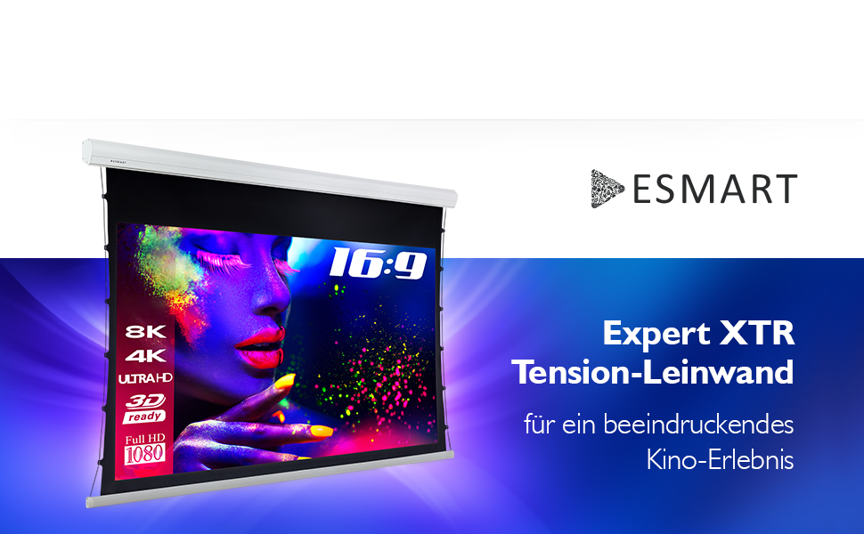 "ESMART Expert XTR Tension Leinwand AKUSTIK 221 x 125 cm (100"") 16:9"