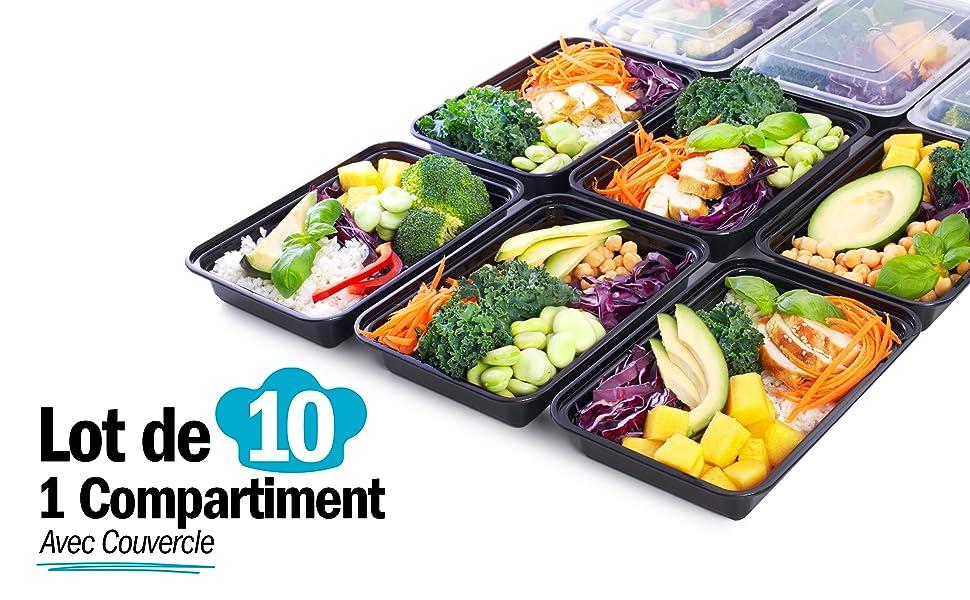 1 compartiment salade boîtes à lunch contenants alimentaires bacs de préparation de repas