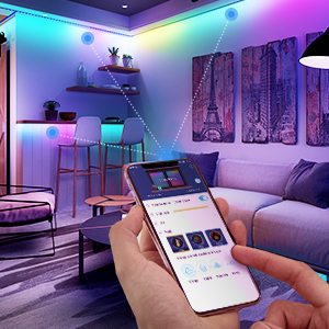 wifi wireless app remote control led strip lights for room bedroom home indoor RGB colored lighting