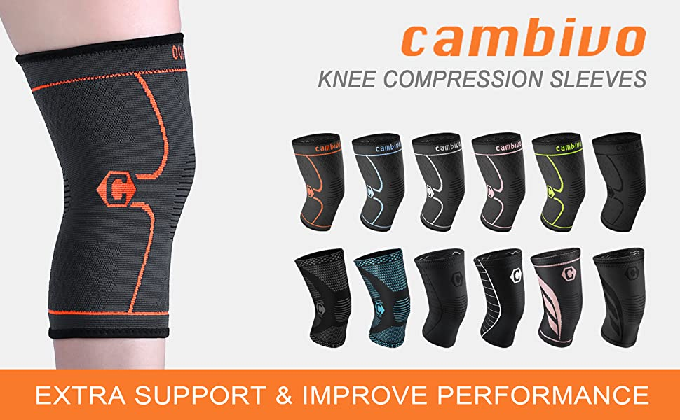Skiing Sports Weight Lifting Meniscus Tear ACL,Joint Pain Relief /& Ligament Injury Recovery CE /& FDA Approved Arthritis Knee Brace Compression Sleeves for Running CAMBIVO 1 Pair Knee Support