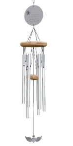 Memorial Wind Chime for Loss of Loved One - Silver heart