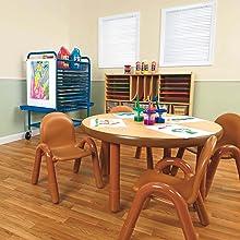 Shelving units and storage; storage shelves, classroom furniture, classroom decor, preschool table