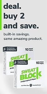 SweatBlock Clinical Strength Antiperspirant Wipes 2 Pack Deal